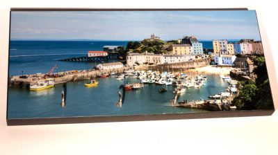 high gloss image of tenby harbour on a sunny day on a keyrack with 4 hooks
