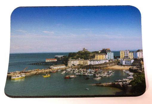 thick quality mousemat with an image of Tenby Harbour in the Sunshine