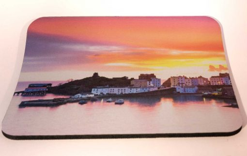 Alternative choice of thick quality mousemat with image of Tenby sunrise