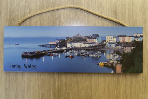Image of Tenby Harbour at twilight on a large plaque