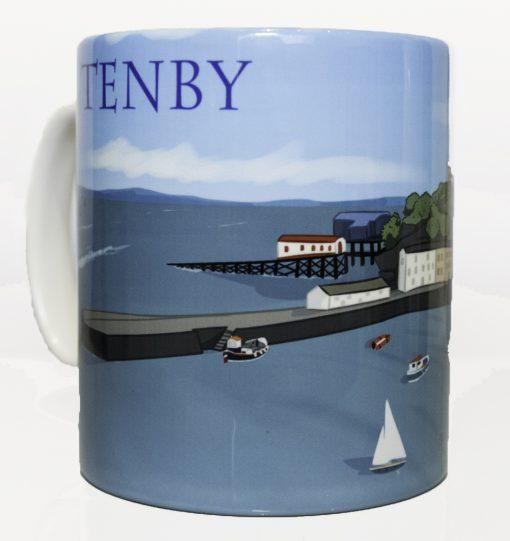 Tenby Harbour artwork on a mug