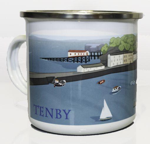 Modern artwork of Tenby Harbour on a metal camping mug