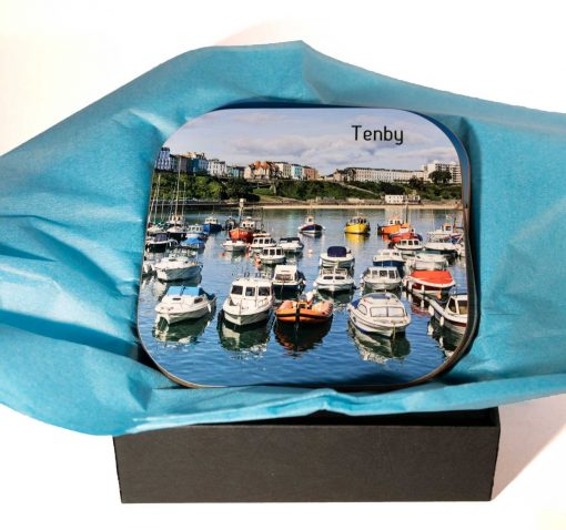 beautiful high gloss coasters with four different images of tenby