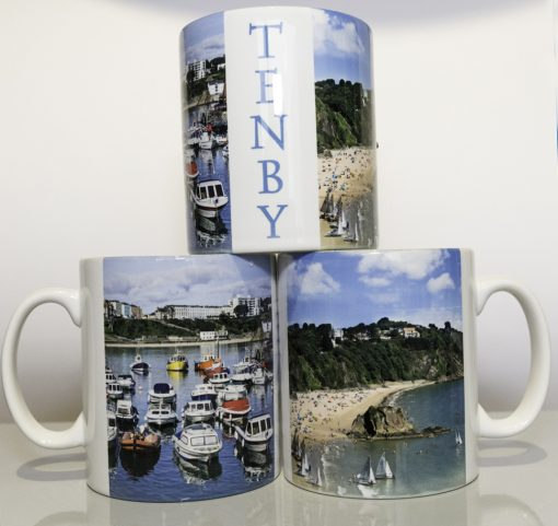 boats, north beach and Tenby on mug