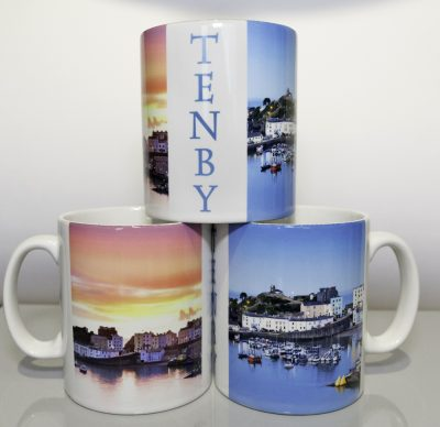 3 mugs showing the 2 images and text Tenby on the mug