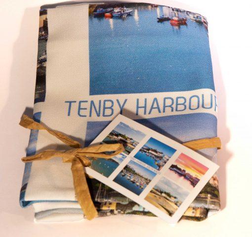 multi image tenby tea towel