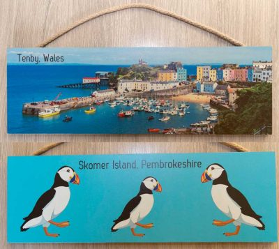 3 plaques Tenby Day, Tenby twilight or 3 graphic design puffins on turquoise background
