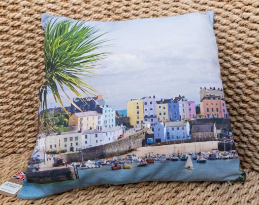 Tenby harbour with yucca tree and sailing boat on the front of the cushion