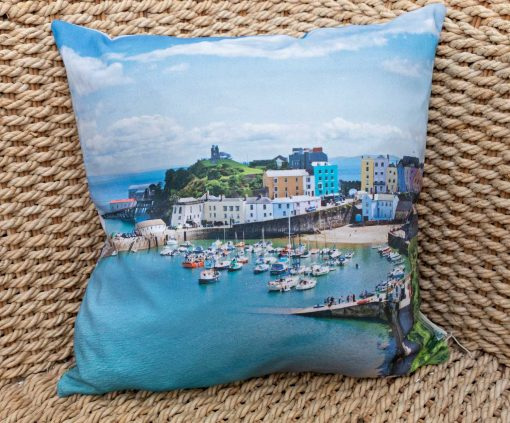 Tenby harbour on a cushion