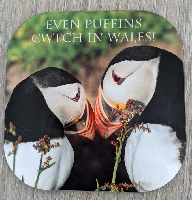 2 billing puffins with the words even Puffins cwtch in Wales