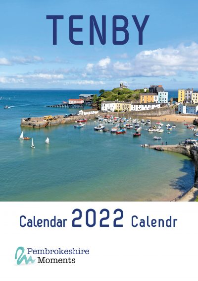 stunning tenby harbour in the sunshine features on the front page of this 2022 tenby calendar