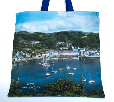 front of bag with fully printed image of Lower Town Fishguard in sunshine