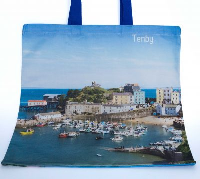 front of the tote bag with a fabulous image of Tenby image in the day time at high tide