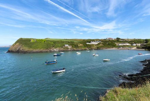 Looking back from the Wales Coast Path to the tiny harbour of Abercastle