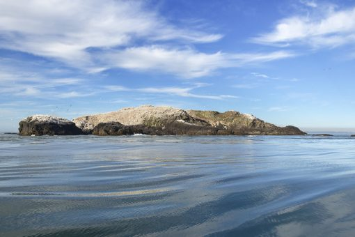 a view of grassholm island taken from a boat with sea in the foreground and pretty scudding clouds up above
