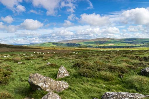 Blue sky with fluffy clouds over the preseli hills above Newport Pembrokeshire