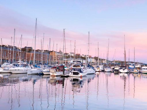 Pink and blue skies over Milford Marina