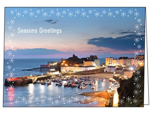 Pre-dawn image of Tenby made into a Tenby christmas card with a snowflake border