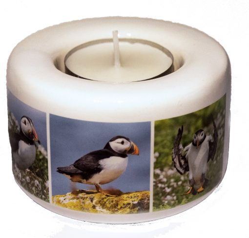 a smalla puffin gift tealight holder with 3 puffin images on the front and love skomer on the reverse