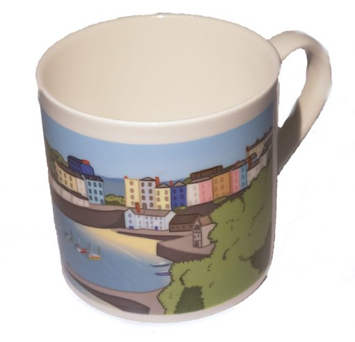a beautiful graphic design image of Tenby Harbour on a large fine bone china mug