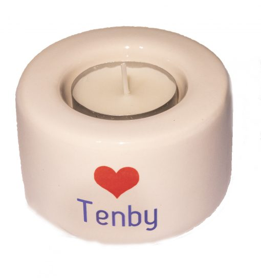 reverse of tenby tealight holder with a red heart and tenby on reverse