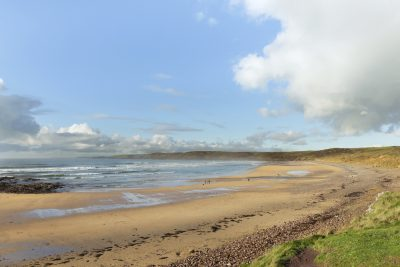 view from the bank across the spectacular beach of Freshwater West one of pembrokeshires finest beaches