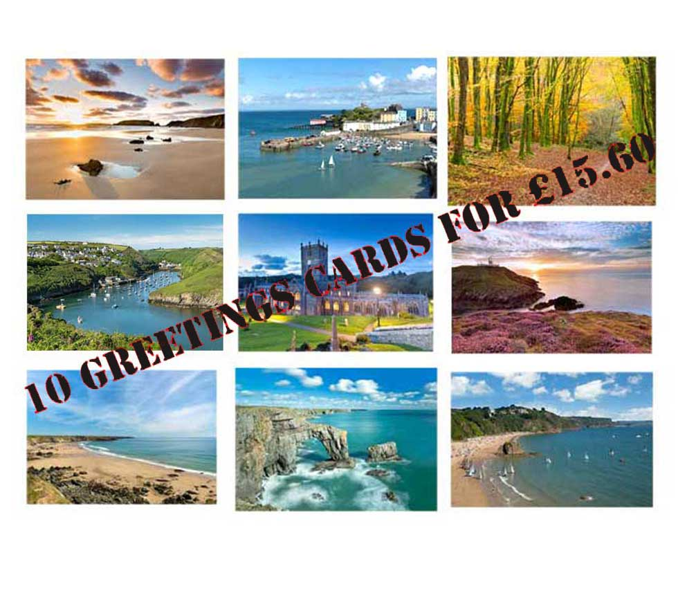 ten pembrokeshire greetings cards for fifteen pounds and sixty pence