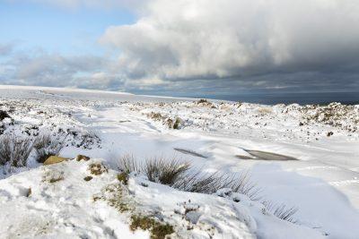 snowy scene on the preseli mountains above newport pembrokeshire